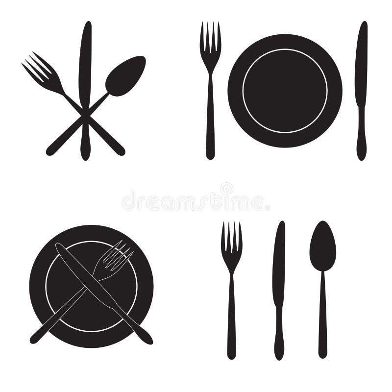 Μαχαιροπήρουνα: μαχαίρι, δίκρανο, κουτάλι και πιάτο τα εύκολα εικονίδια ανασκόπησης αντικαθιστούν το διαφανές διάνυσμα σκιών στοκ φωτογραφία με δικαίωμα ελεύθερης χρήσης