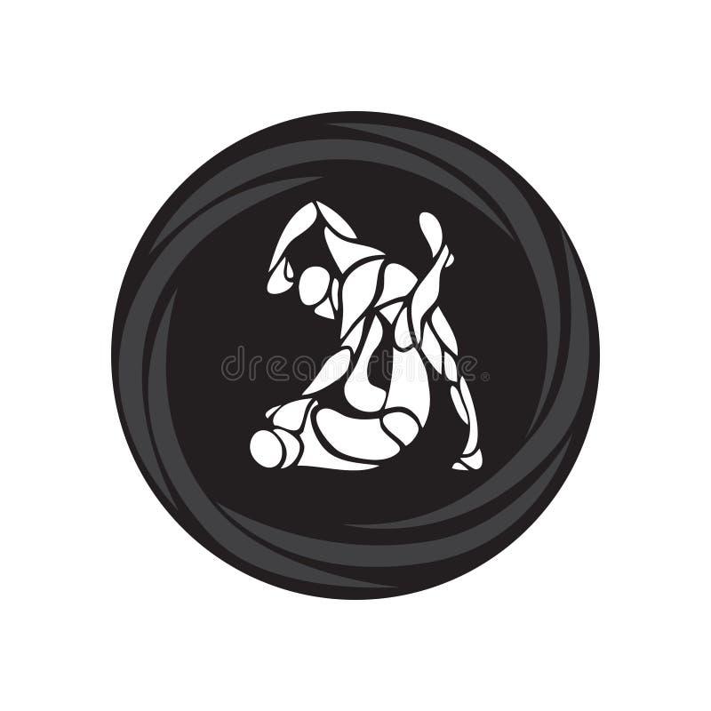 Μαχητές MMA γύρω από το εικονόγραμμα ή το λογότυπο Εγκιβωτίζοντας εικονίδιο διανυσματική απεικόνιση