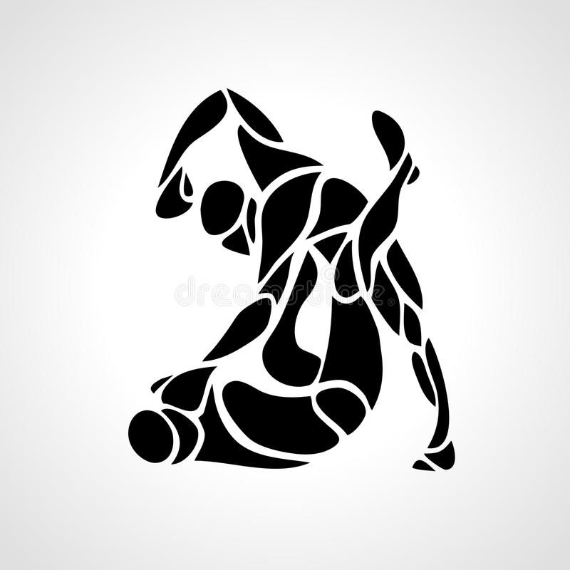Μαχητές MMA γύρω από το εικονόγραμμα ή το λογότυπο Εγκιβωτίζοντας εικονίδιο ελεύθερη απεικόνιση δικαιώματος