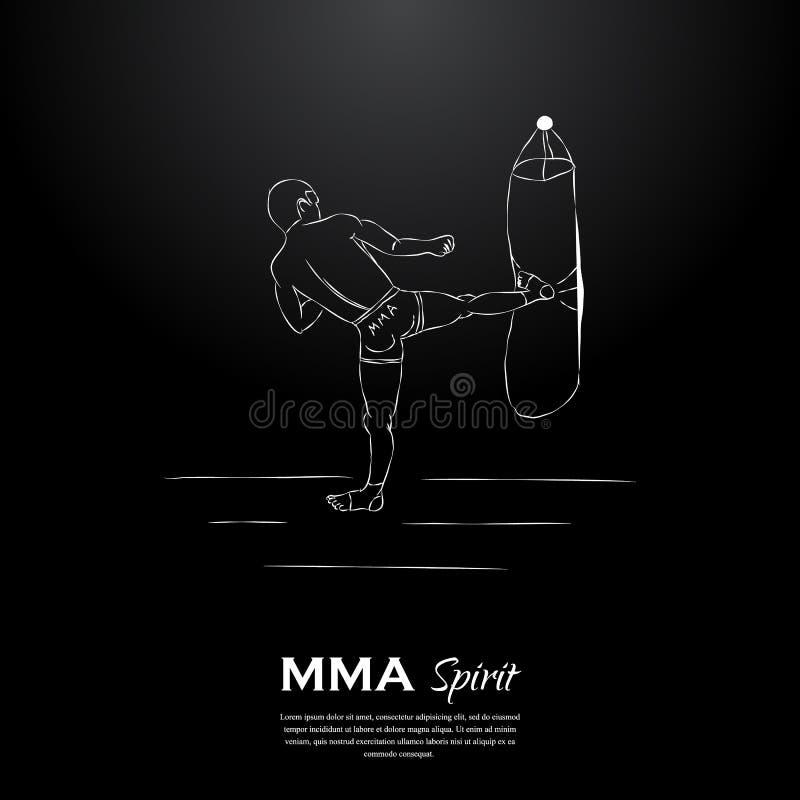 Μαχητής πνευμάτων MMA και punching τσάντα απεικόνιση αποθεμάτων