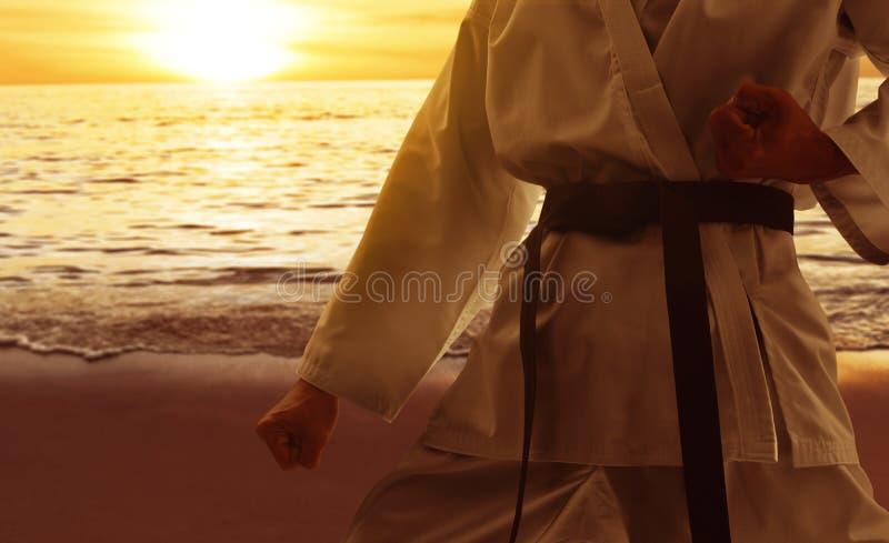 Μαχητής πολεμικής τέχνης στην παραλία στοκ φωτογραφία