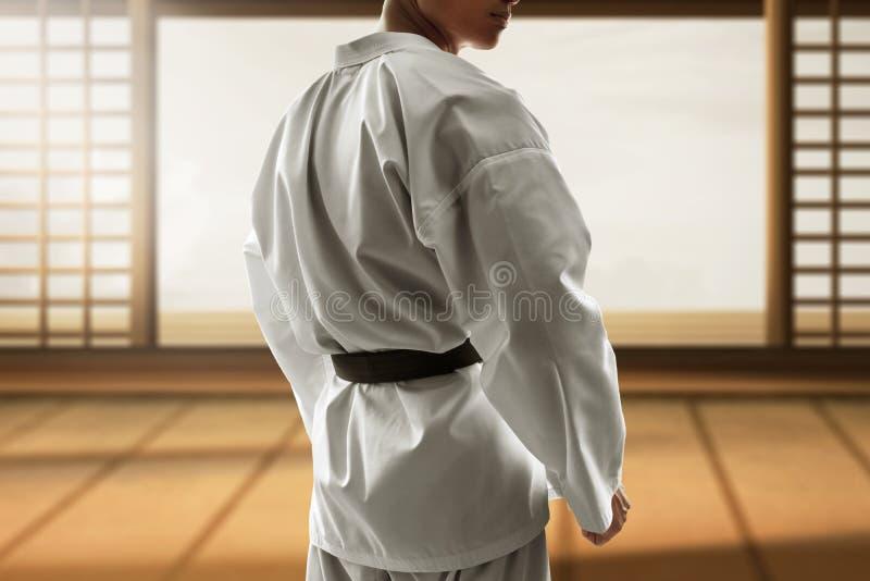 Μαχητής πολεμικής τέχνης στο dojo στοκ εικόνες