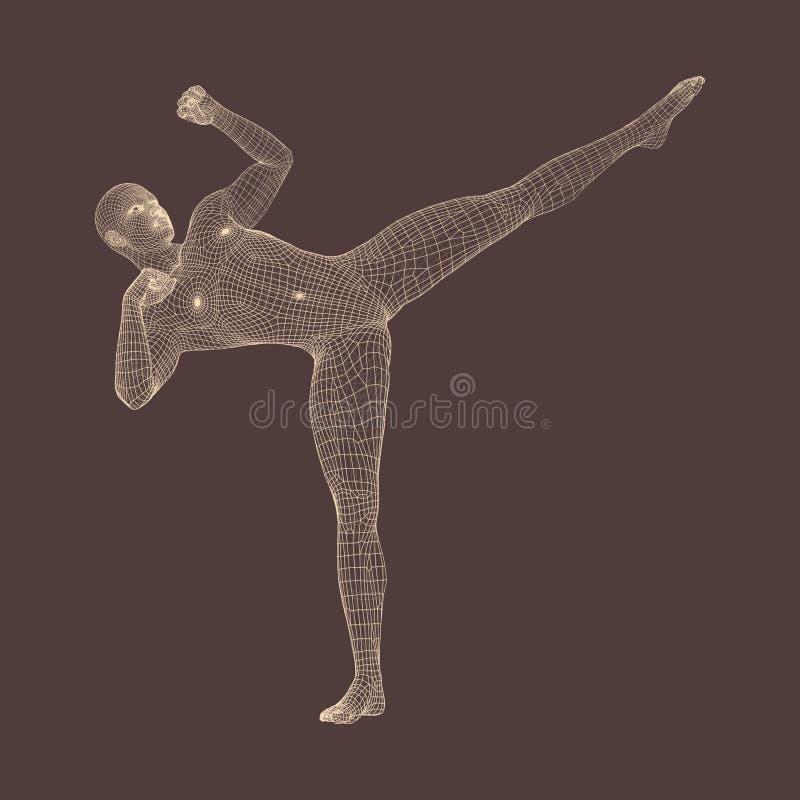 Μαχητής Kickbox που προετοιμάζεται να εκτελέσει ένα υψηλό λάκτισμα Ικανότητα, αθλητισμός, κατάρτιση και έννοια πολεμικών τεχνών τ διανυσματική απεικόνιση