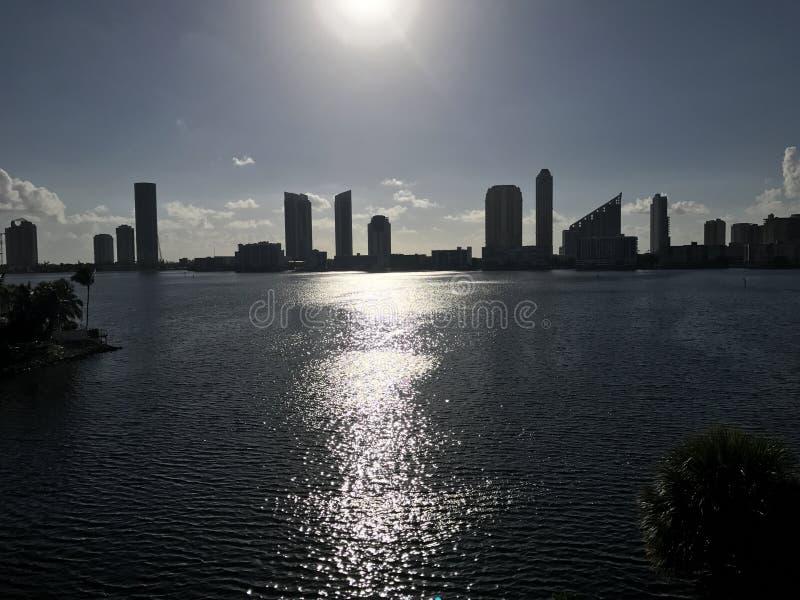 Μαϊάμι Μπιτς, ηλιοβασίλεμα Νέα αρχή ημέρας της Φλώριδας νέα στοκ φωτογραφίες