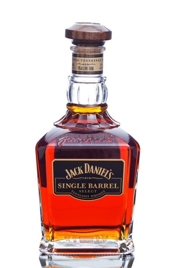 ΜΑΪΑΜΙ, ΗΠΑ - 24 Μαρτίου 2015: Μπουκάλι του ενιαίου βαρελιού του Jack Daniels στοκ εικόνα