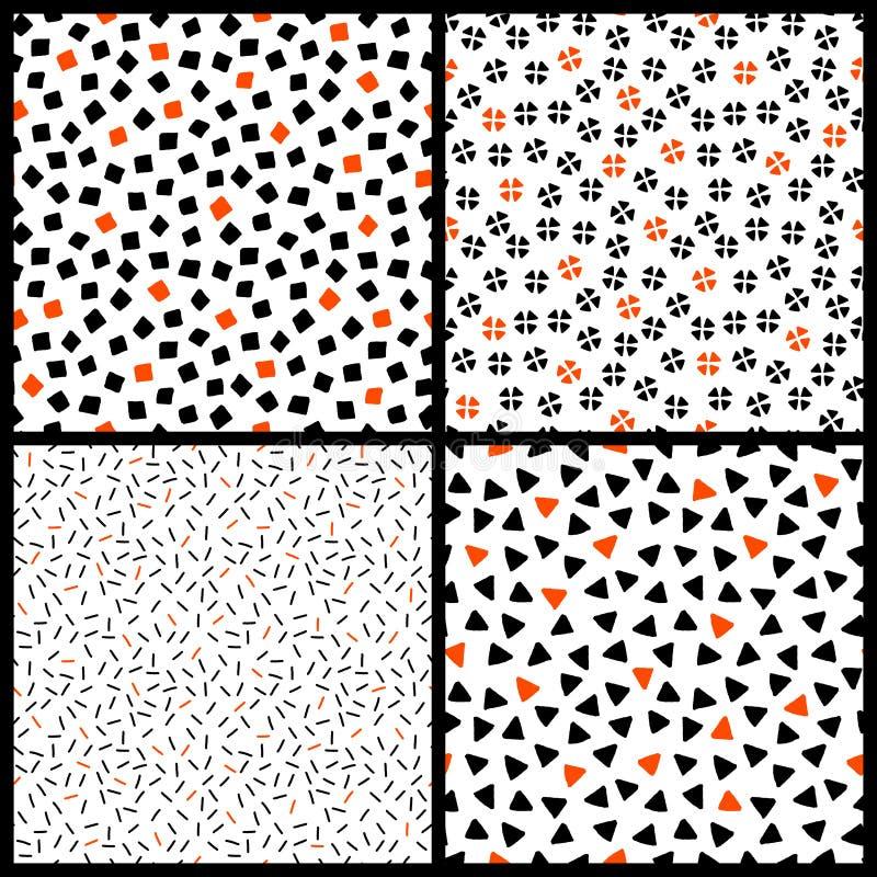 Μαύρα άσπρα και πορτοκαλιά χαοτικά εθνικά γεωμετρικά άνευ ραφής σχέδια καθορισμένα, διάνυσμα απεικόνιση αποθεμάτων