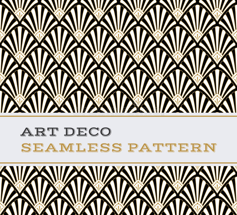 Μαύρα άσπρα και χρυσά χρώματα 03 σχεδίων του Art Deco άνευ ραφής ελεύθερη απεικόνιση δικαιώματος