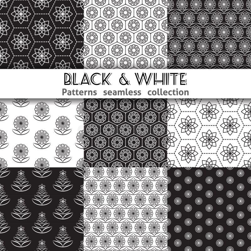 Μαύρα άσπρα σχέδια συλλογής διανυσματική απεικόνιση