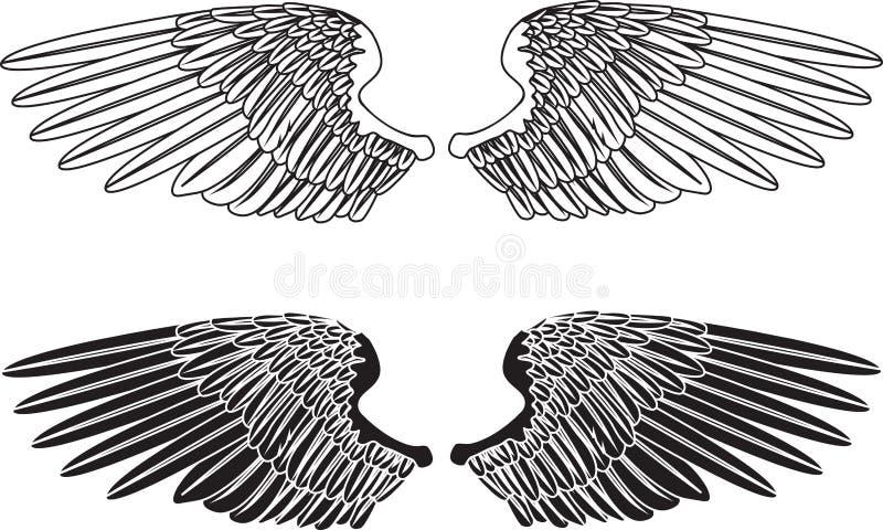 μαύρα άσπρα φτερά ελεύθερη απεικόνιση δικαιώματος