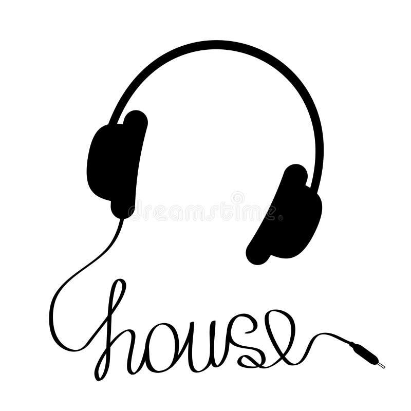 Μαύρα ακουστικά με το σκοινί στη μορφή του σπιτιού λέξης. Κάρτα μουσικής. ελεύθερη απεικόνιση δικαιώματος