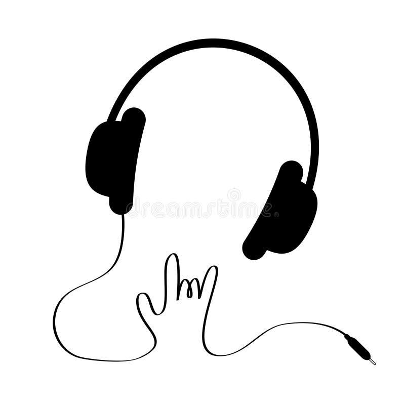 Μαύρα ακουστικά με το σκοινί στη μορφή του χεριού. Βράχος  απεικόνιση αποθεμάτων