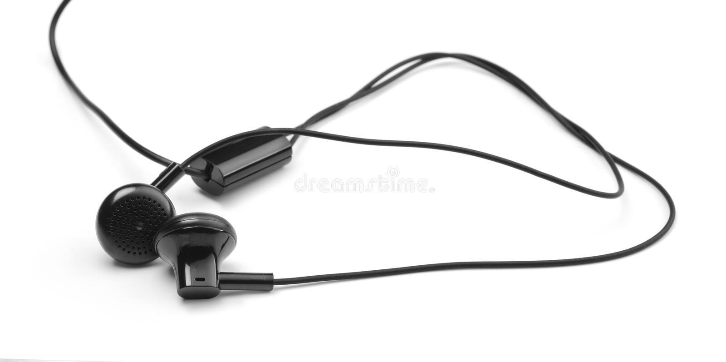 Μαύρα ακουστικά μουσικής στο άσπρο υπόβαθρο στοκ φωτογραφία με δικαίωμα ελεύθερης χρήσης