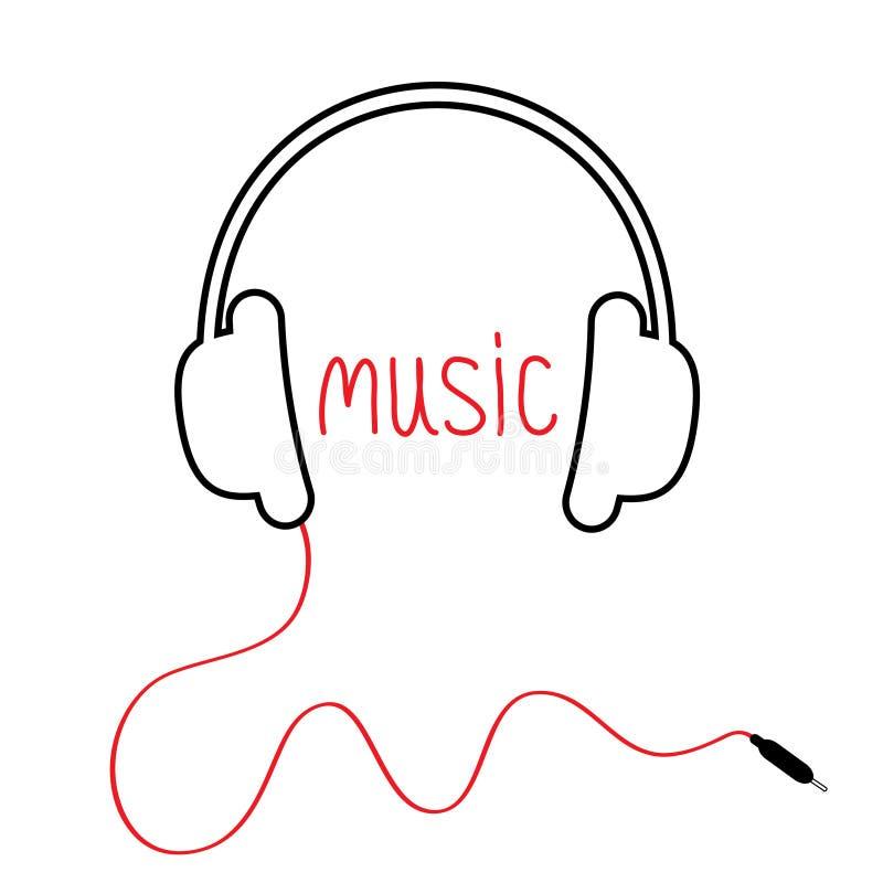 Μαύρα ακουστικά περιγράμματος με το σκοινί και την κόκκινη μουσική λέξης Επίπεδο σχέδιο Άσπρη ανασκόπηση απεικόνιση αποθεμάτων