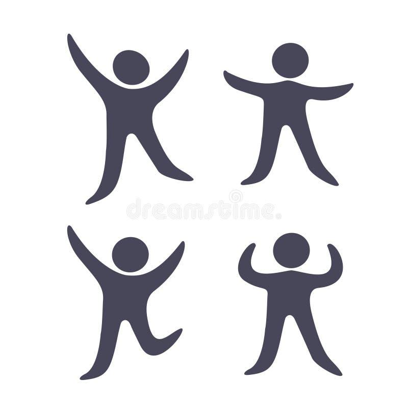 Μαύρα ανθρώπινα σύμβολα - απλά εικονίδια αριθμού, σκιαγραφία ατόμων ικανότητας απεικόνιση αποθεμάτων