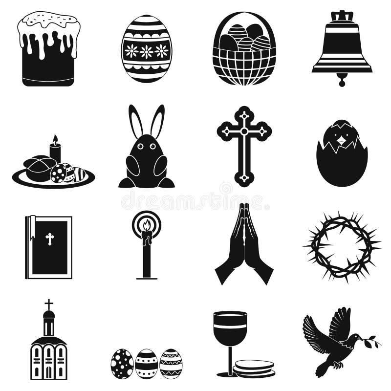 Μαύρα απλά εικονίδια Πάσχας απεικόνιση αποθεμάτων