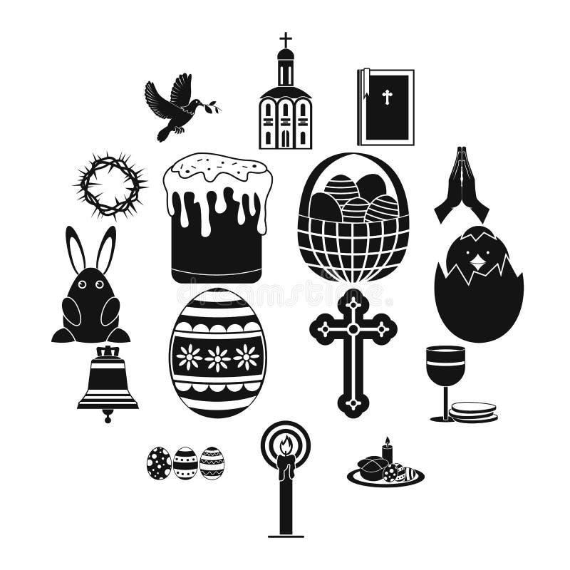 Μαύρα απλά εικονίδια Πάσχας ελεύθερη απεικόνιση δικαιώματος