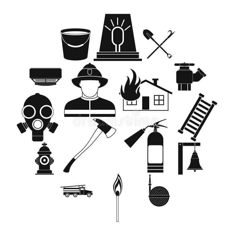 Μαύρα απλά εικονίδια πυροσβεστών καθορισμένα διανυσματική απεικόνιση