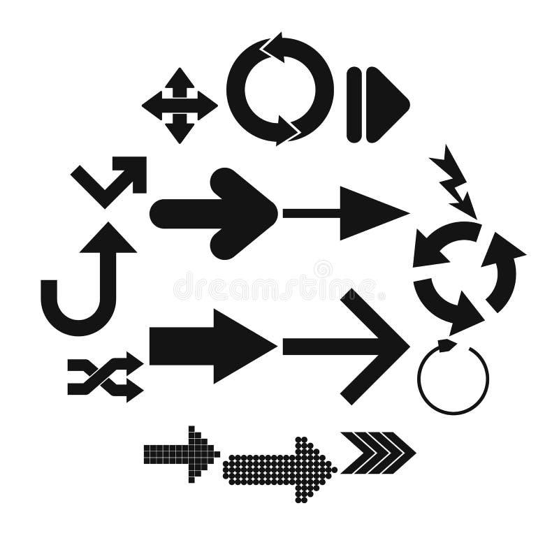 Μαύρα απλά εικονίδια σημαδιών βελών απεικόνιση αποθεμάτων