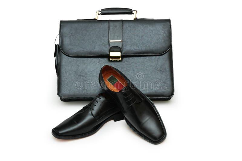 μαύρα απομονωμένα χαρτοφύλακας αρσενικά παπούτσια στοκ εικόνες με δικαίωμα ελεύθερης χρήσης
