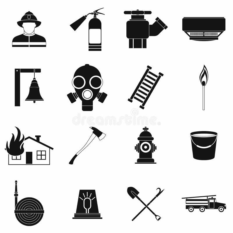 Μαύρα απλά εικονίδια πυροσβεστών καθορισμένα ελεύθερη απεικόνιση δικαιώματος