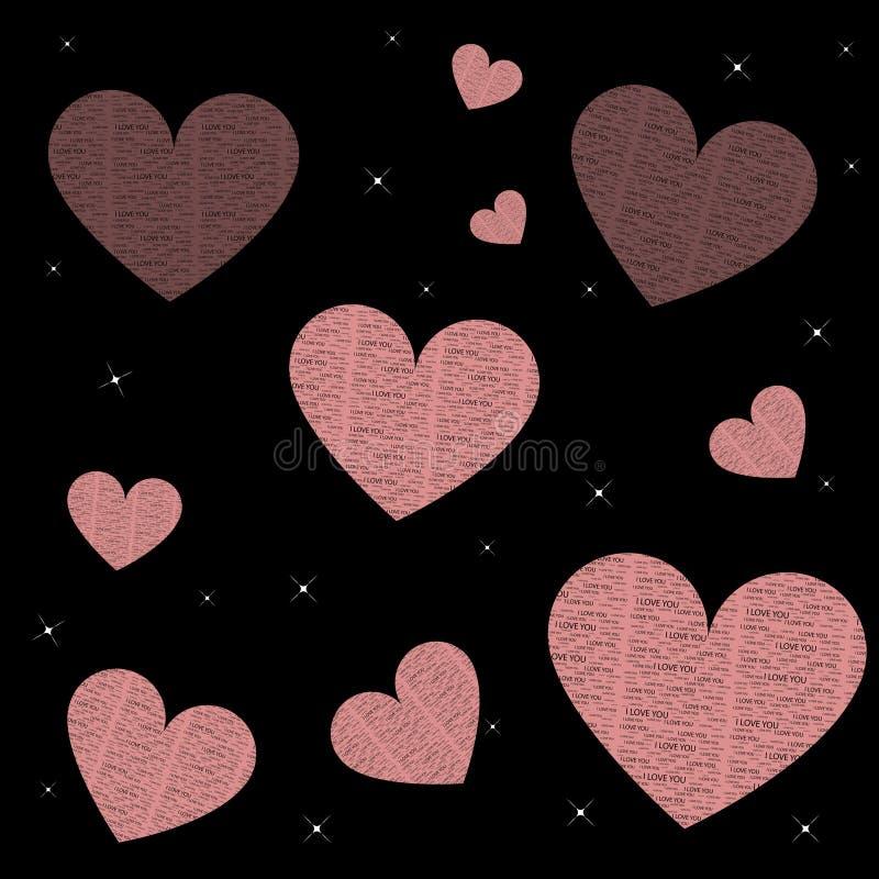 μαύρα αστέρια βροχής καρδ&iota ελεύθερη απεικόνιση δικαιώματος