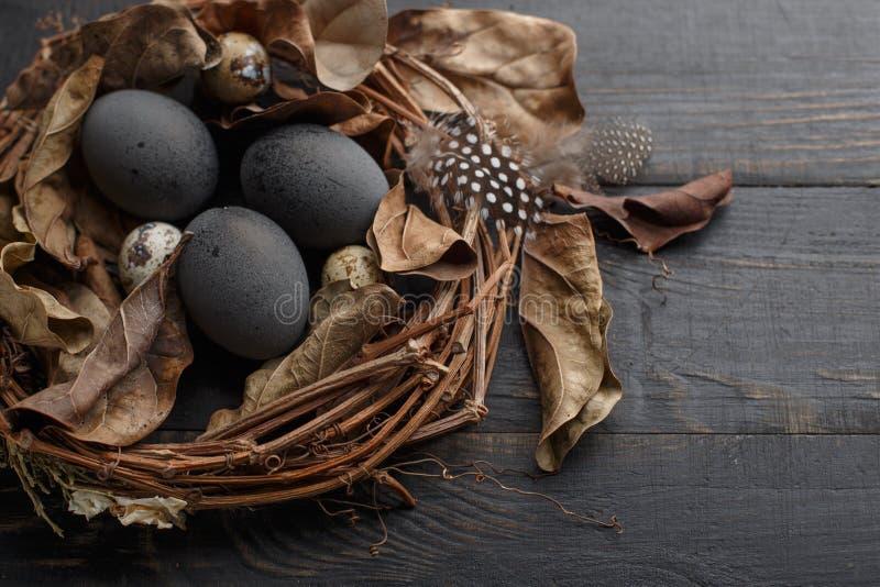 Μαύρα αυγά σε μια φωλιά των ξηρών κλάδων σε έναν μαύρο πίνακα Ύφος Πάσχας στοκ φωτογραφίες
