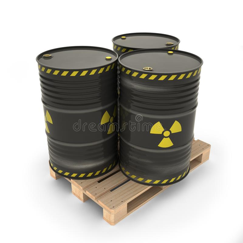 Μαύρα βαρέλια με τα ραδιενεργά υλικά στην παλέτα ελεύθερη απεικόνιση δικαιώματος