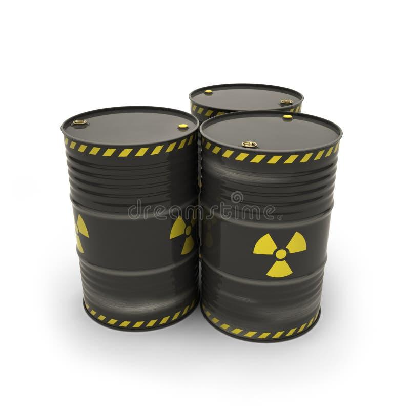 Μαύρα βαρέλια με τα ραδιενεργά υλικά απεικόνιση αποθεμάτων