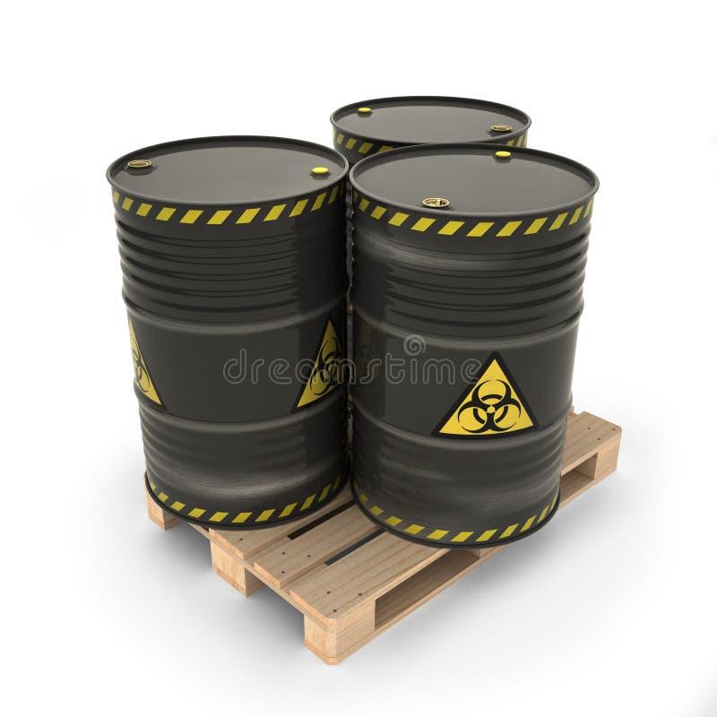 Μαύρα βαρέλια με τα τοξικά υλικά στην παλέτα ελεύθερη απεικόνιση δικαιώματος