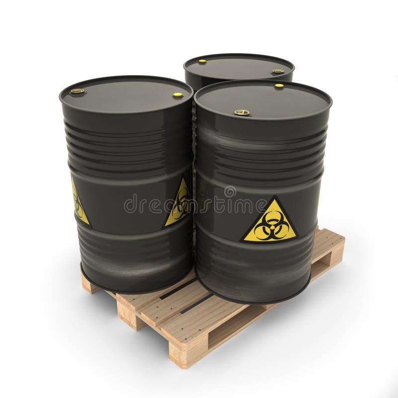 Μαύρα βαρέλια με τα τοξικά υλικά στην παλέτα απεικόνιση αποθεμάτων