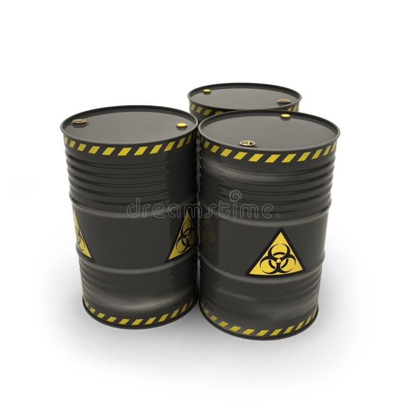 Μαύρα βαρέλια με τα τοξικά υλικά απεικόνιση αποθεμάτων