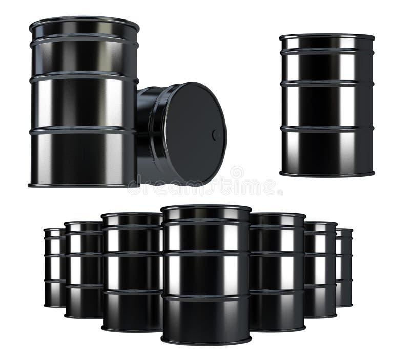 Μαύρα βαρέλια πετρελαίου στο άσπρο υπόβαθρο ελεύθερη απεικόνιση δικαιώματος