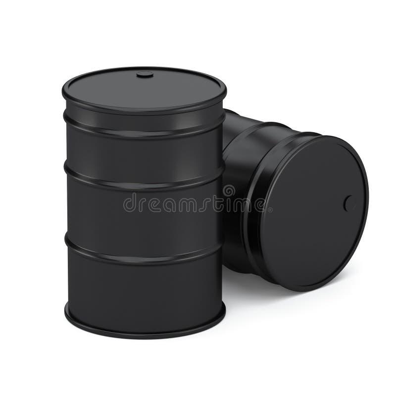 Μαύρα βαρέλια πετρελαίου brent που απομονώνει στο άσπρο υπόβαθρο απεικόνιση αποθεμάτων