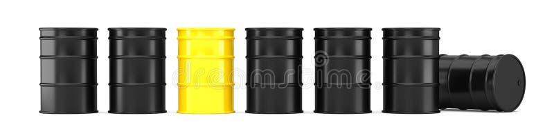 Μαύρα βαρέλια πετρελαίου brent που απομονώνει στο άσπρο υπόβαθρο διανυσματική απεικόνιση