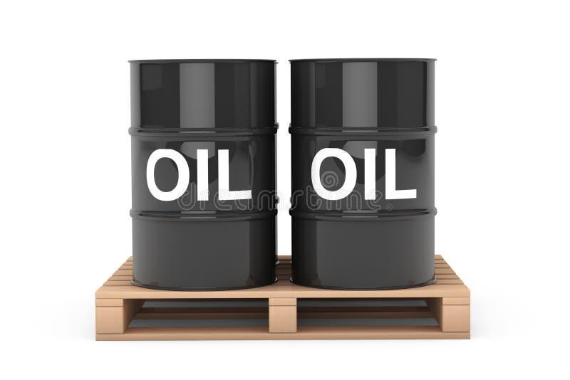 Μαύρα βαρέλια πετρελαίου πέρα από την ξύλινη παλέτα απεικόνιση αποθεμάτων