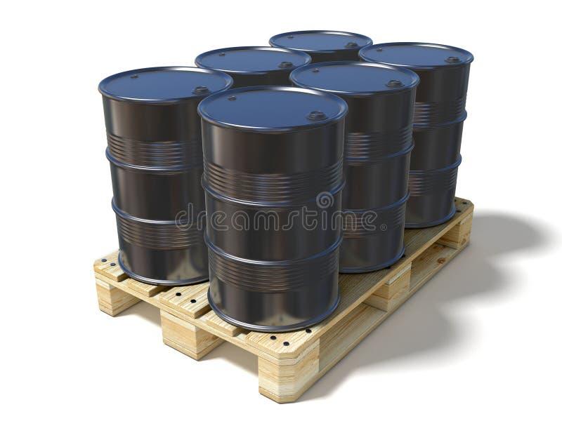 Μαύρα βαρέλια πετρελαίου στην ξύλινη ευρο- παλέτα διανυσματική απεικόνιση