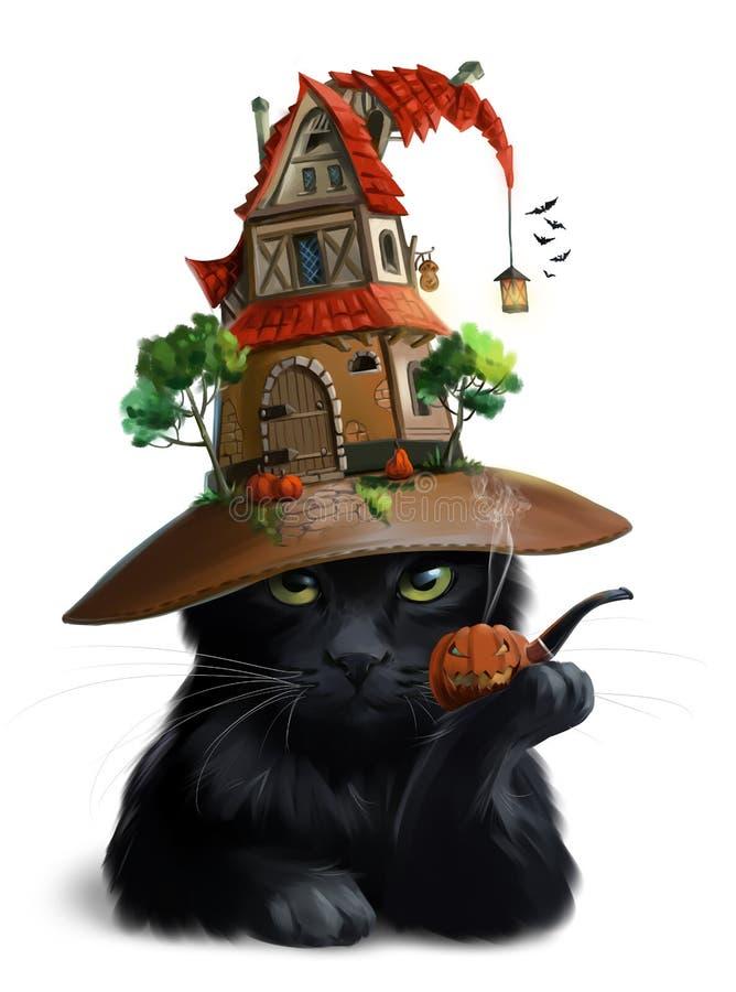 Μαύρα γάτα και καπέλο-σπίτι τράπεζες που σύρουν το τύλιγμα watercolor δέντρων ποταμών ανθίσματος απεικόνιση αποθεμάτων