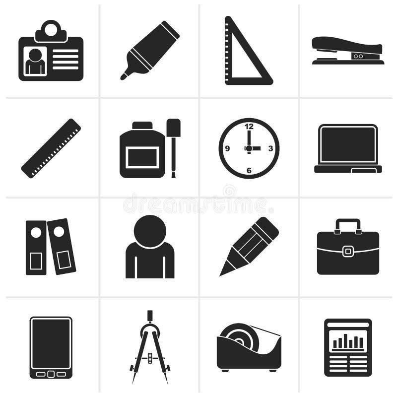 Μαύρα εικονίδια αντικειμένων επιχειρήσεων και γραφείων διανυσματική απεικόνιση