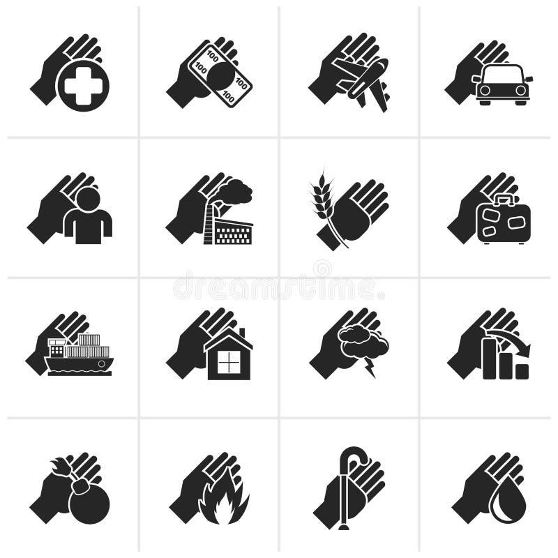 Μαύρα εικονίδια ασφάλειας και κινδύνου απεικόνιση αποθεμάτων