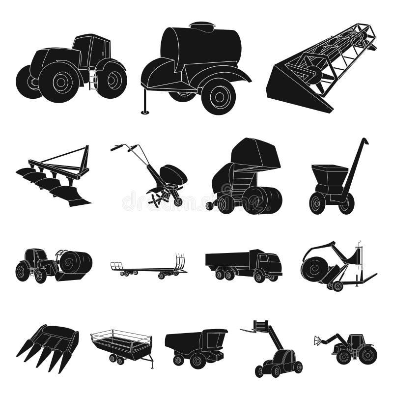 Μαύρα εικονίδια γεωργικών μηχανημάτων στην καθορισμένη συλλογή για το σχέδιο Διανυσματικός Ιστός αποθεμάτων συμβόλων εξοπλισμού κ απεικόνιση αποθεμάτων