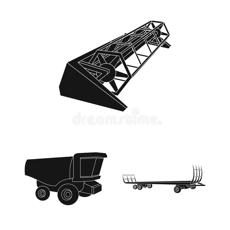 Μαύρα εικονίδια γεωργικών μηχανημάτων στην καθορισμένη συλλογή για το σχέδιο Διανυσματικός Ιστός αποθεμάτων συμβόλων εξοπλισμού κ διανυσματική απεικόνιση