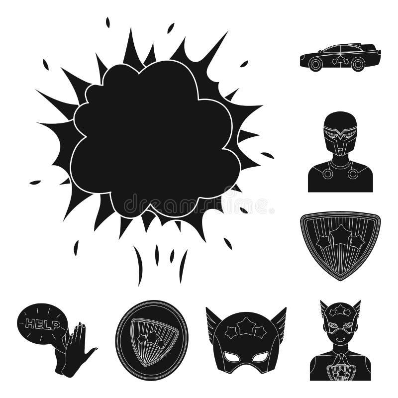 Μαύρα εικονίδια ενός φανταστικά superhero στην καθορισμένη συλλογή για το σχέδιο Διανυσματικός Ιστός αποθεμάτων συμβόλων εξοπλισμ απεικόνιση αποθεμάτων