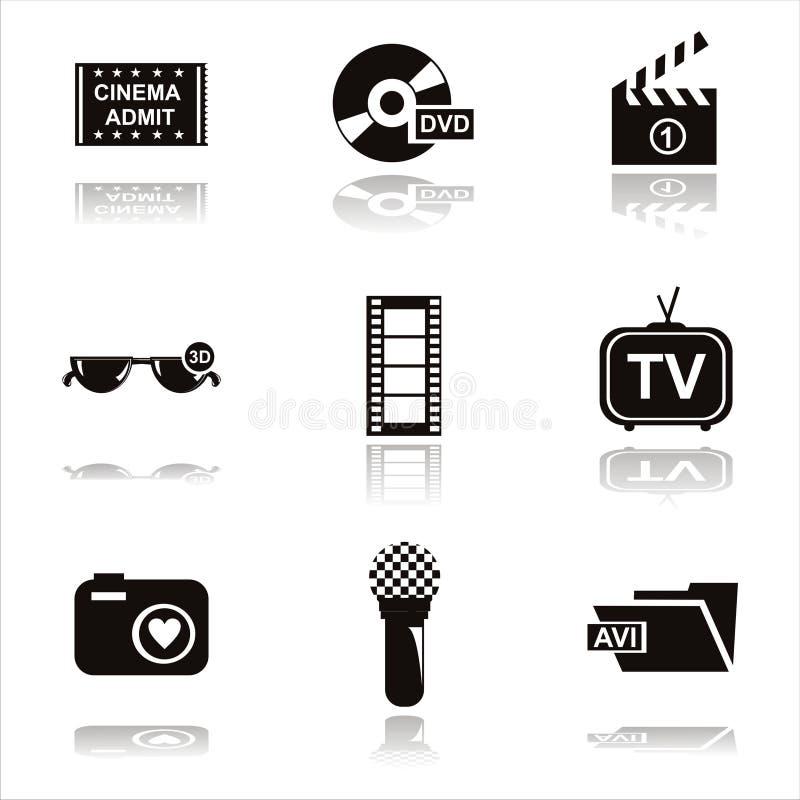 μαύρα εικονίδια κινηματογράφων ελεύθερη απεικόνιση δικαιώματος