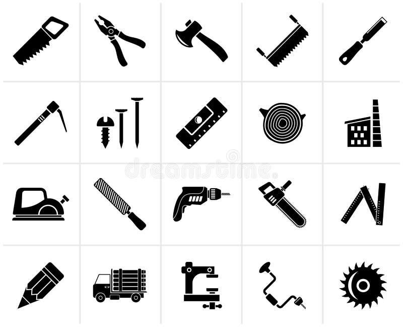 Μαύρα εικονίδια ξυλουργικής, αναγραφών και ξυλουργικής απεικόνιση αποθεμάτων
