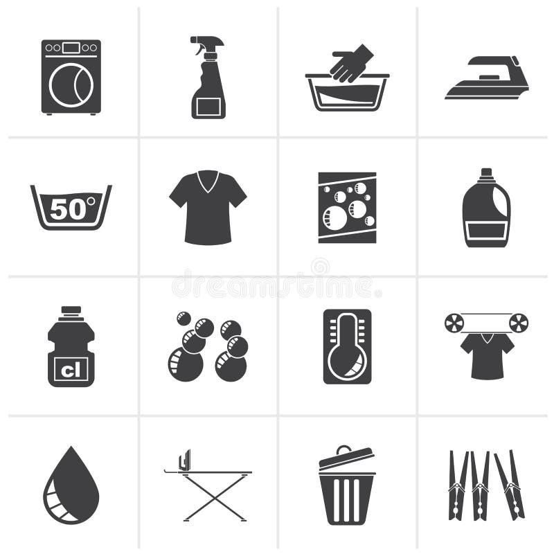 Μαύρα εικονίδια πλυντηρίων και πλυντηρίων ελεύθερη απεικόνιση δικαιώματος