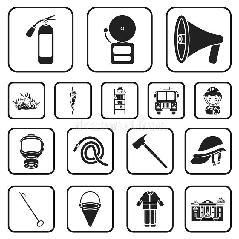Μαύρα εικονίδια πυροσβεστικής υπηρεσίας στην καθορισμένη συλλογή για το σχέδιο Πυροσβέστες και διανυσματικός Ιστός αποθεμάτων συμ ελεύθερη απεικόνιση δικαιώματος