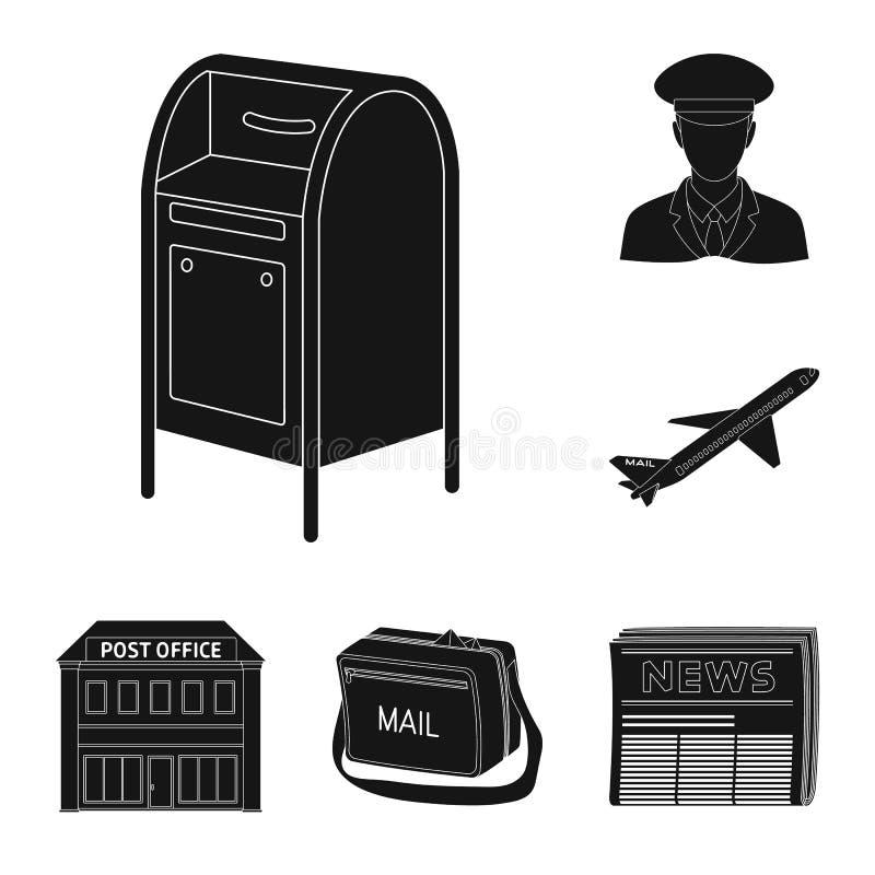 Μαύρα εικονίδια ταχυδρομείου και ταχυδρόμων στην καθορισμένη συλλογή για το σχέδιο Διανυσματική απεικόνιση Ιστού αποθεμάτων συμβό ελεύθερη απεικόνιση δικαιώματος