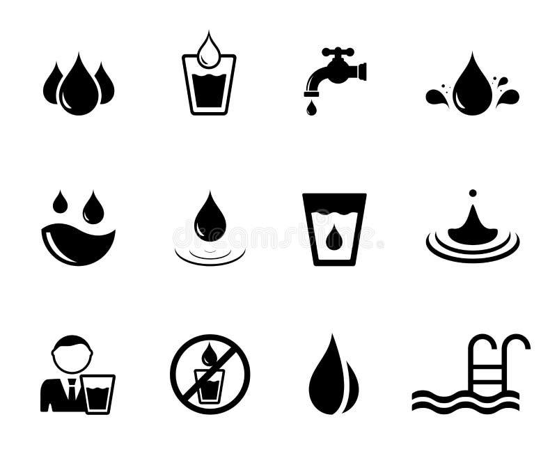 Μαύρα εικονίδια έννοιας νερού απεικόνιση αποθεμάτων