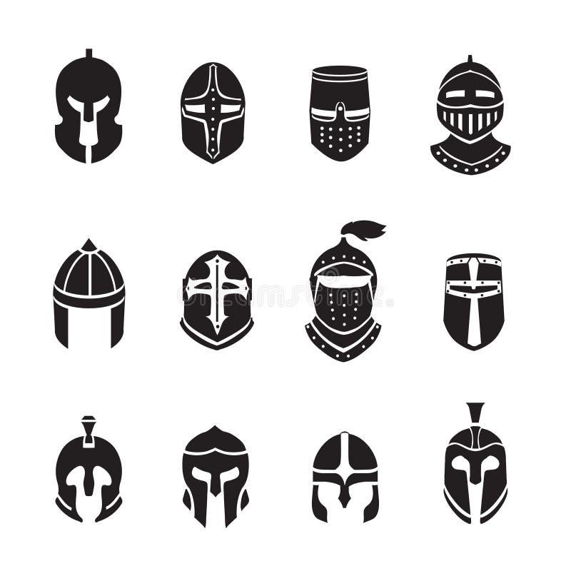 Μαύρα εικονίδια ή λογότυπα κρανών πολεμιστών καθορισμένα Τεθωρακισμένο ιπποτών, διανυσματική απεικόνιση ελεύθερη απεικόνιση δικαιώματος
