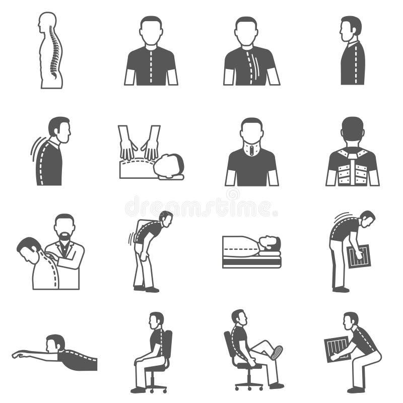 Μαύρα εικονίδια ασθενειών σπονδυλικών στηλών ελεύθερη απεικόνιση δικαιώματος